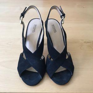 Michael Kors Black Suede Peep Toe Heels